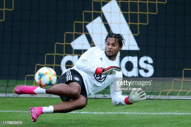 Serge Gnabry of Germany saves a ball during a training session at BVBTrainingsgelaende on October 07 2019 in Dortmund Germany Germany will play...