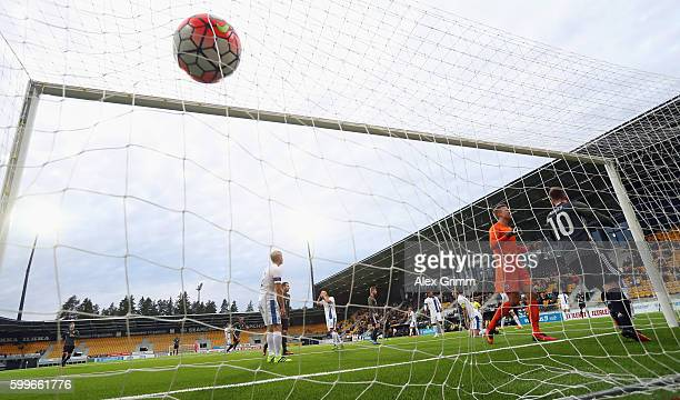 Serge Gnabry of Germany scores his team's first goal against goalkeeper Otso Virtanen of Finland during the 2017 UEFA European U21 Championships...