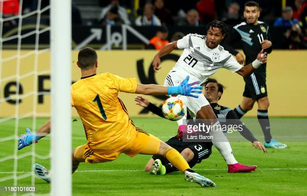 Serge Gnabry of Germany scores his teams first goal during the International Friendly between Germany and Argentina at Signal Iduna Park on October...
