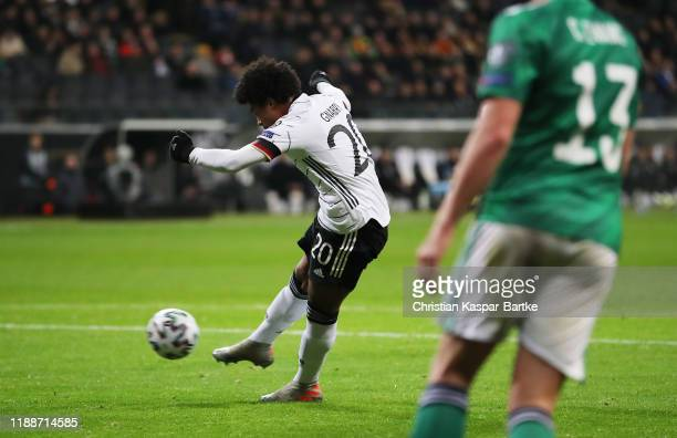 Serge Gnabry of Germany scores his team's first goal during the UEFA Euro 2020 Qualifier between Germany and Northern Ireland at Commerzbank Arena on...