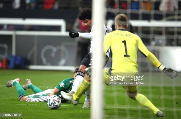 Serge Gnabry of Germany scores his team's fourth goal past Bailey Peacock-Farrell of Northern Ireland during the UEFA Euro 2020 Qualifier between...