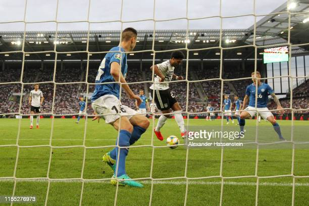 Serge Gnabry of Germany scores his team's second goal during the UEFA Euro 2020 Qualifier match between Germany and Estonia at Opel Arena on June 11...