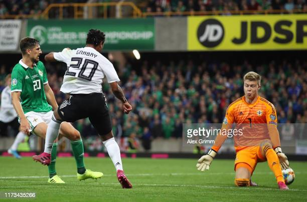 Serge Gnabry of Germany scores his team's second goal during the UEFA Euro 2020 qualifier match between Northern Ireland and Germany at Windsor Park...