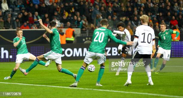 Serge Gnabry of Germany scores his team's third goal during the UEFA Euro 2020 Qualifier between Germany and Northern Ireland at Commerzbank Arena on...