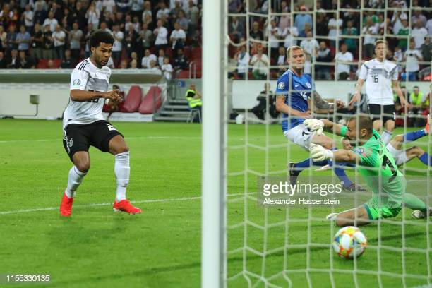 Serge Gnabry of Germany scores the 6th goal during the UEFA Euro 2020 Qualifier match between Germany and Estonia at Opel Arena on June 11 2019 in...