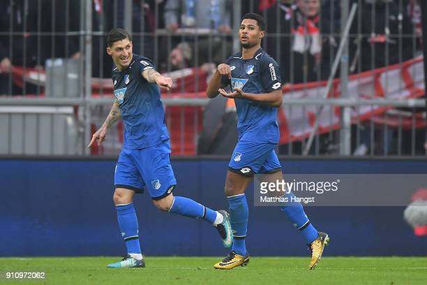 Serge Gnabry of Hoffenheim celebrates after he scored a goal to make it 02 during the Bundesliga match between FC Bayern Muenchen and TSG 1899...