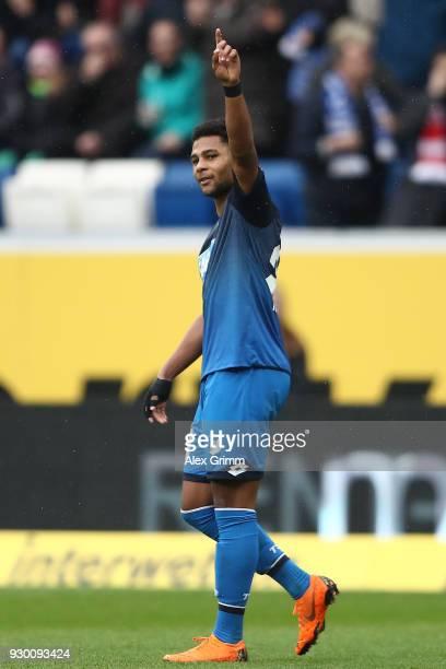 Serge Gnabry of Hoffenheim celebrates after he scored a goal to make it 20 during the Bundesliga match between TSG 1899 Hoffenheim and VfL Wolfsburg...