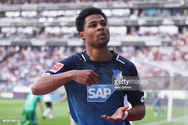 Serge Gnabry of Hoffenheim celebrates his team's first goal during the Bundesliga match between Eintracht Frankfurt and TSG 1899 Hoffenheim at...