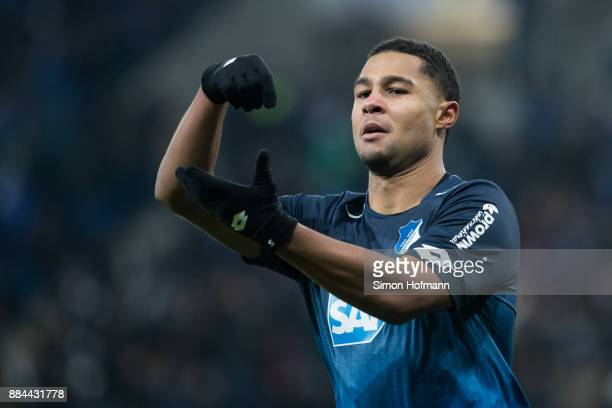 Serge Gnabry of Hoffenheim celebrates his team's second goal during the Bundesliga match between TSG 1899 Hoffenheim and RB Leipzig at Wirsol...