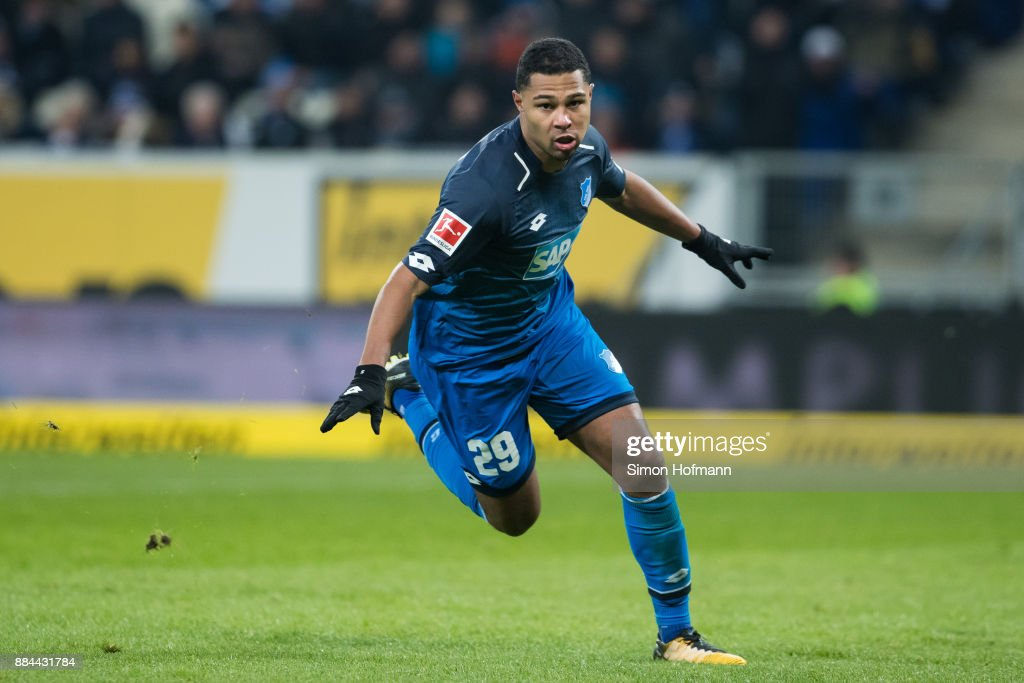 Serge Gnabry of Hoffenheim celebrates his team's second goal during the Bundesliga match between TSG 1899 Hoffenheim and RB Leipzig at Wirsol Rhein-Neckar-Arena on December 2, 2017 in Sinsheim, Germany.