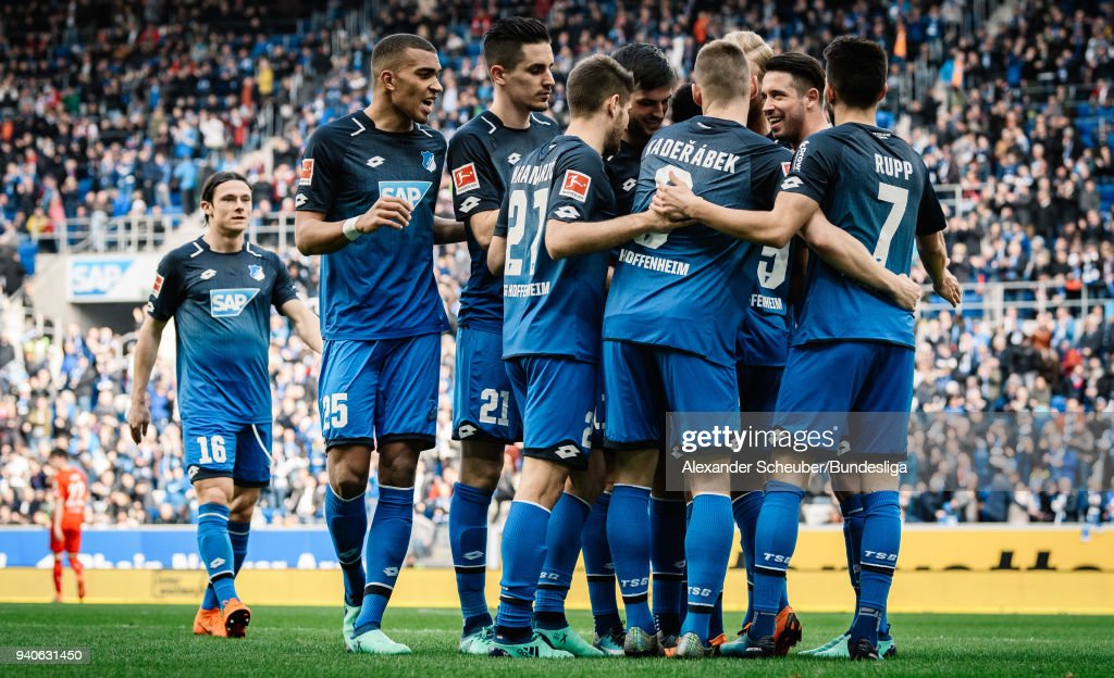 Serge Gnabry of Hoffenheim celebrates the second goal for his team with his teammates during the Bundesliga match between TSG 1899 Hoffenheim and 1. FC Koeln at Wirsol Rhein-Neckar-Arena on March 31, 2018 in Sinsheim, Germany.