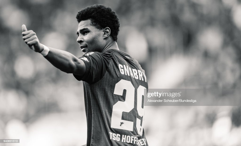 Serge Gnabry of Hoffenheim celebrates the second goal for his team during the Bundesliga match between TSG 1899 Hoffenheim and 1. FC Koeln at Wirsol Rhein-Neckar-Arena on March 31, 2018 in Sinsheim, Germany.