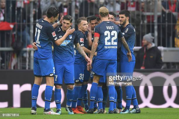 Serge Gnabry of Hoffenheim celebrates with his team after he scored a goal to make it 02 during the Bundesliga match between FC Bayern Muenchen and...