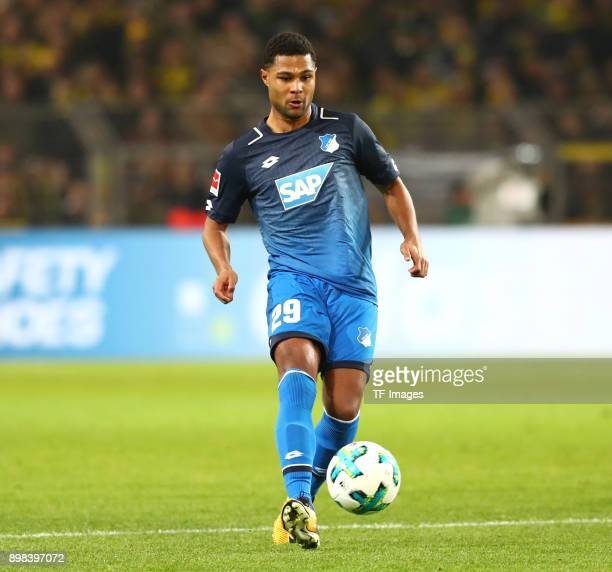 Serge Gnabry of Hoffenheim controls the ball during the Bundesliga match between Borussia Dortmund and TSG 1899 Hoffenheim at Signal Iduna Park on...