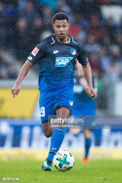Serge Gnabry of Hoffenheim controls the ball during the Bundesliga match between TSG 1899 Hoffenheim and Bayer 04 Leverkusen at Wirsol...