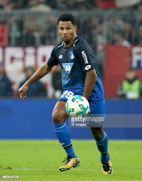 Serge Gnabry of Hoffenheim controls the ball during the Bundesliga match between FC Bayern Muenchen and TSG 1899 Hoffenheim at Allianz Arena on...