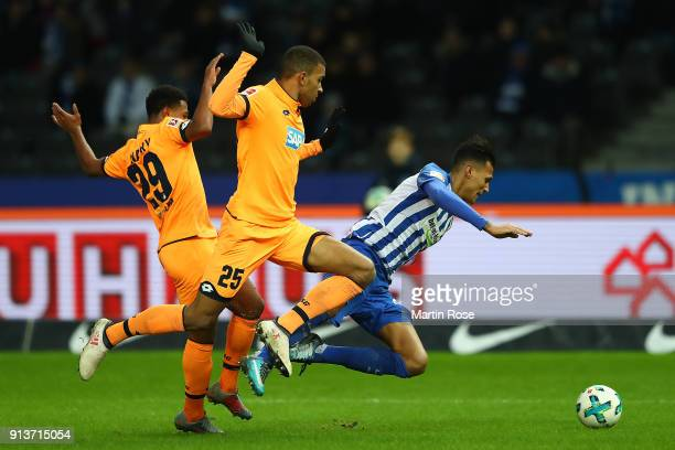 Serge Gnabry of Hoffenheim Kevin Akpoguma of Hoffenheim and Davie Selke of Berlin fight for the ball during the Bundesliga match between Hertha BSC...