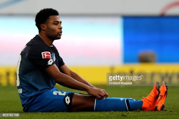 Serge Gnabry of Hoffenheim looks dejected after the Bundesliga match between TSG 1899 Hoffenheim and SportClub Freiburg at Wirsol RheinNeckarArena on...