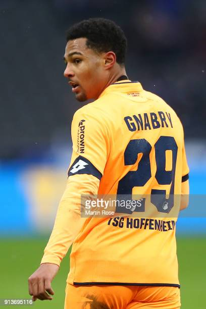 Serge Gnabry of Hoffenheim looks on during the Bundesliga match between Hertha BSC and TSG 1899 Hoffenheim at Olympiastadion on February 3 2018 in...