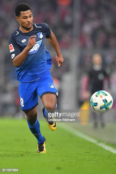 Serge Gnabry of Hoffenheim plays the ball during the Bundesliga match between FC Bayern Muenchen and TSG 1899 Hoffenheim at Allianz Arena on January...