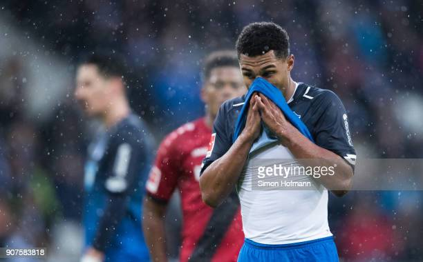 Serge Gnabry of Hoffenheim reacts during the Bundesliga match between TSG 1899 Hoffenheim and Bayer 04 Leverkusen at Wirsol RheinNeckarArena on...