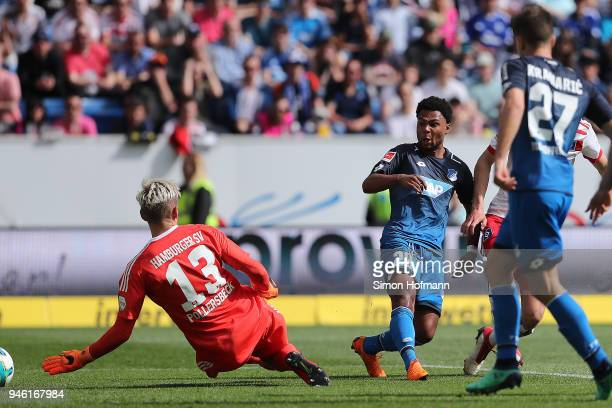 Serge Gnabry of Hoffenheim scores a goal to make it 10 during the Bundesliga match between TSG 1899 Hoffenheim and Hamburger SV at Wirsol...