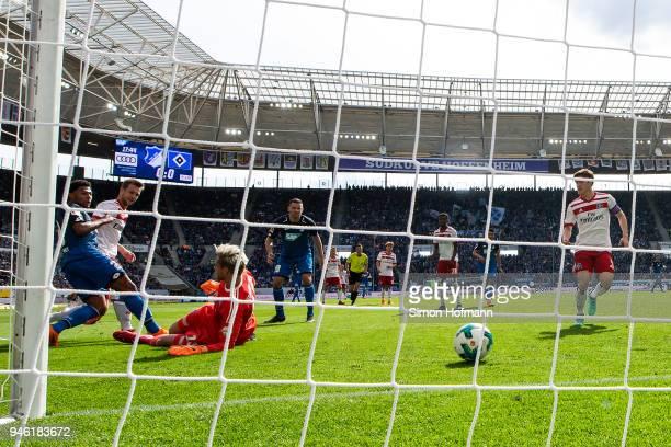 Serge Gnabry of Hoffenheim scores a goal to make it 10 past goalkeeper Julian Pollersbeck of Hamburg during the Bundesliga match between TSG 1899...