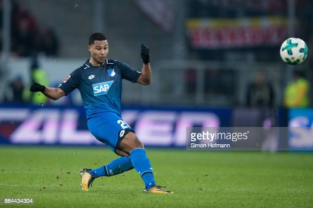 Serge Gnabry of Hoffenheim scores his team's third goal during the Bundesliga match between TSG 1899 Hoffenheim and RB Leipzig at Wirsol...