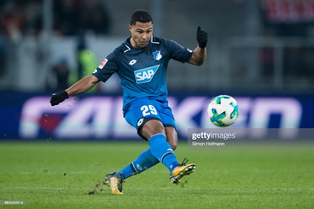 Serge Gnabry of Hoffenheim scores his team's third goal during the Bundesliga match between TSG 1899 Hoffenheim and RB Leipzig at Wirsol Rhein-Neckar-Arena on December 2, 2017 in Sinsheim, Germany.
