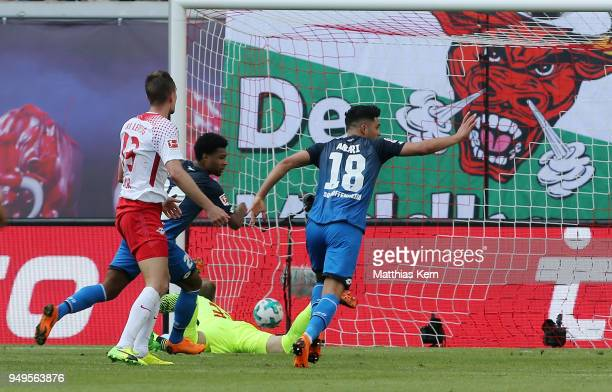Serge Gnabry of Hoffenheim scores the second goal during the Bundesliga match between RB Leipzig and TSG 1899 Hoffenheim at Red Bull Arena on April...