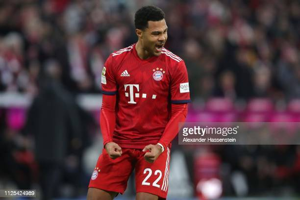 Serge Gnabry of Muebchen celebrates scoring the 3rd goal during the Bundesliga match between FC Bayern Muenchen and VfB Stuttgart at Allianz Arena on...