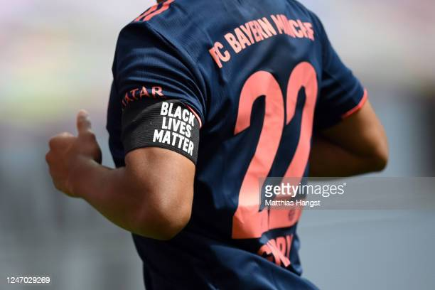 Serge Gnabry of Muenchen wears an armlet reading 'Black Lives Matter' during the Bundesliga match between Bayer 04 Leverkusen and FC Bayern Muenchen...