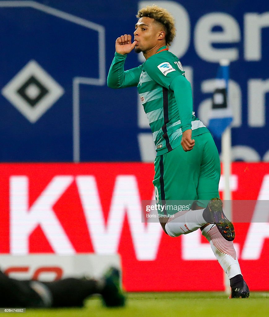 Serge Gnabry of SV Werder Bremen celebrates after scoring his team's second goal during the Bundesliga match between Hamburger SV and Werder Bremen at Volksparkstadion on November 26, 2016 in Hamburg, Germany.