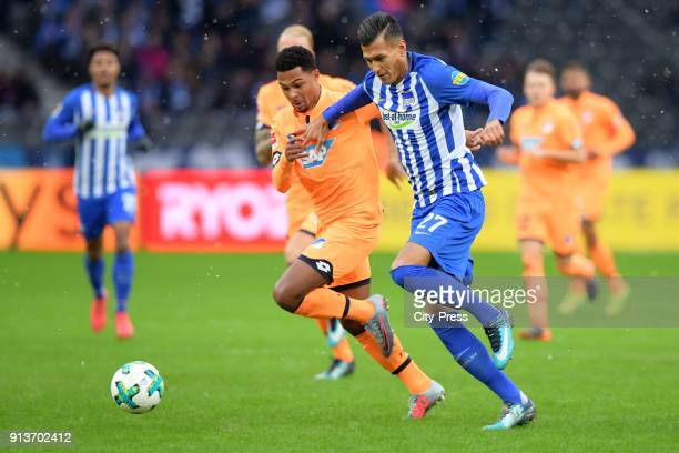 Serge Gnabry of the TSG 1899 Hoffenheim and Davie Selke of Hertha BSC during the game between Hertha BSC and TSG Hoffenheim on february 3 2018 in...