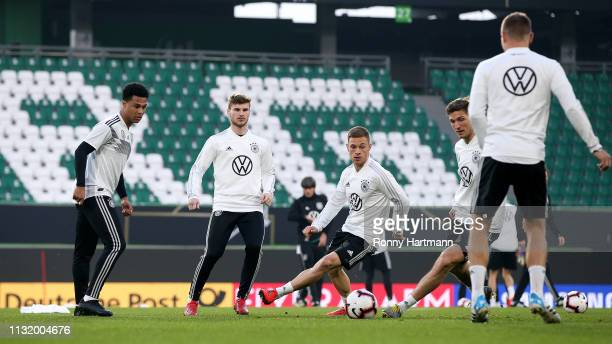 Serge Gnabry Timo Werner Joshua Kimmich Niklas Stark and Toni Kroos of the German National Team during a training session on March 22 2019 in...