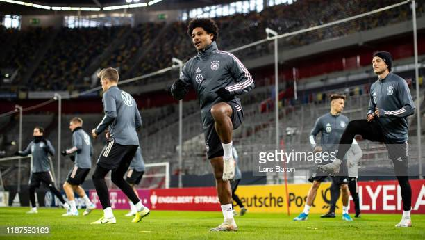 Serge Gnabry warms up during a German National Team training session at Merkur SpielArena on November 14 2019 in Duesseldorf Germany Germany will...