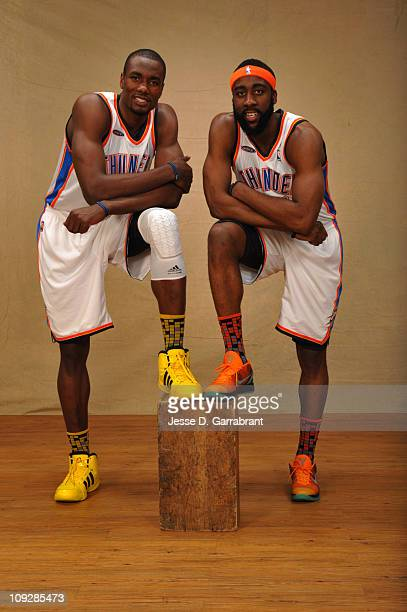 2a04ad97a41e Serge Ibaka and James Harden of the Rookie Team poses for a portrait prior  to the. 2011 T-Mobile Rookie Challenge and Youth Jam