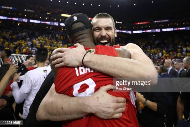 Serge Ibaka and Marc Gasol of the Toronto Raptors celebrates their teams victory over the Golden State Warriors in Game Six to win the 2019 NBA...