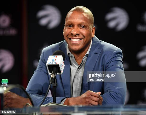 Serge Ibaka and President of the Toronto Raptors, Masai Ujiri announce his re-signing during a press conference on June 7, 2017 at the Air Canada...