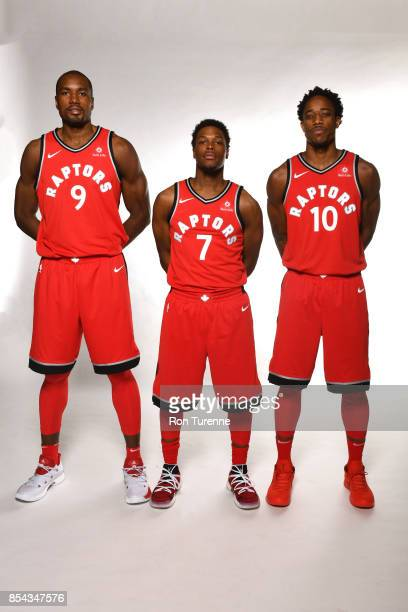 Serge Ibaka Kyle Lowry and DeMar DeRozan of the Toronto Raptors pose for a portrait during Media Day on September 25 2017 at the BioSteel Centre in...