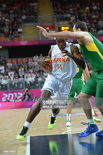 Serge Ibaka of Spain drives against Brazil during their Men's Basketball Game on Day 10 of the London 2012 Olympic Games at the Olympic Park...