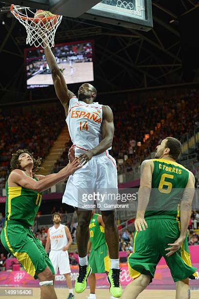 Serge Ibaka of Spain shoots against Anderson Varejao of Brazil during their Men's Basketball Game on Day 10 of the London 2012 Olympic Games at the...