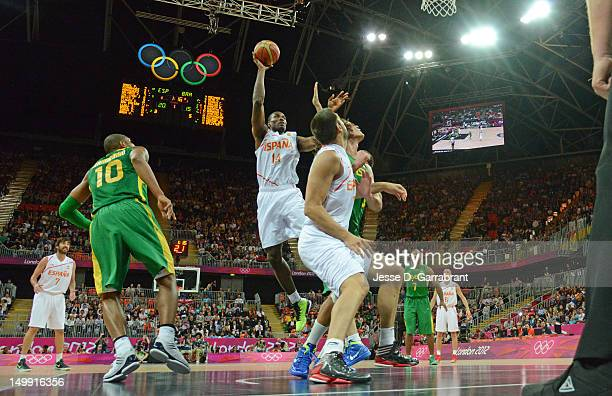 Serge Ibaka of Spain shoots against Brazil during their Men's Basketball Game on Day 10 of the London 2012 Olympic Games at the Olympic Park...