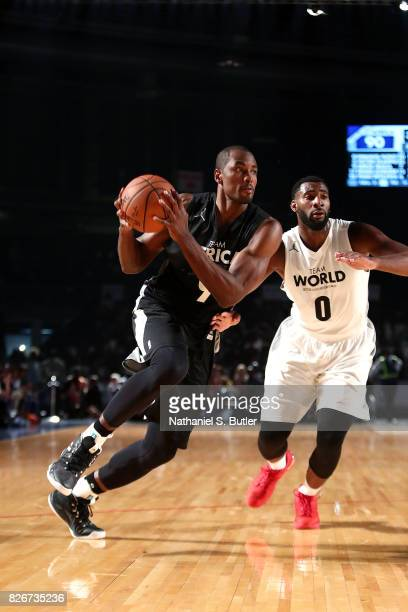 Serge Ibaka of Team Africa drives to the basket against Team World in the 2017 Africa Game as part of the Basketball Without Borders Africa at the...