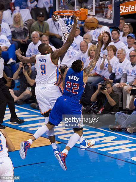 Serge Ibaka of the Oklahoma City Thunder blocks the shot of Matt Barnes of the Los Angeles Clippers in Game 5 of the Western Conference Semifinals...