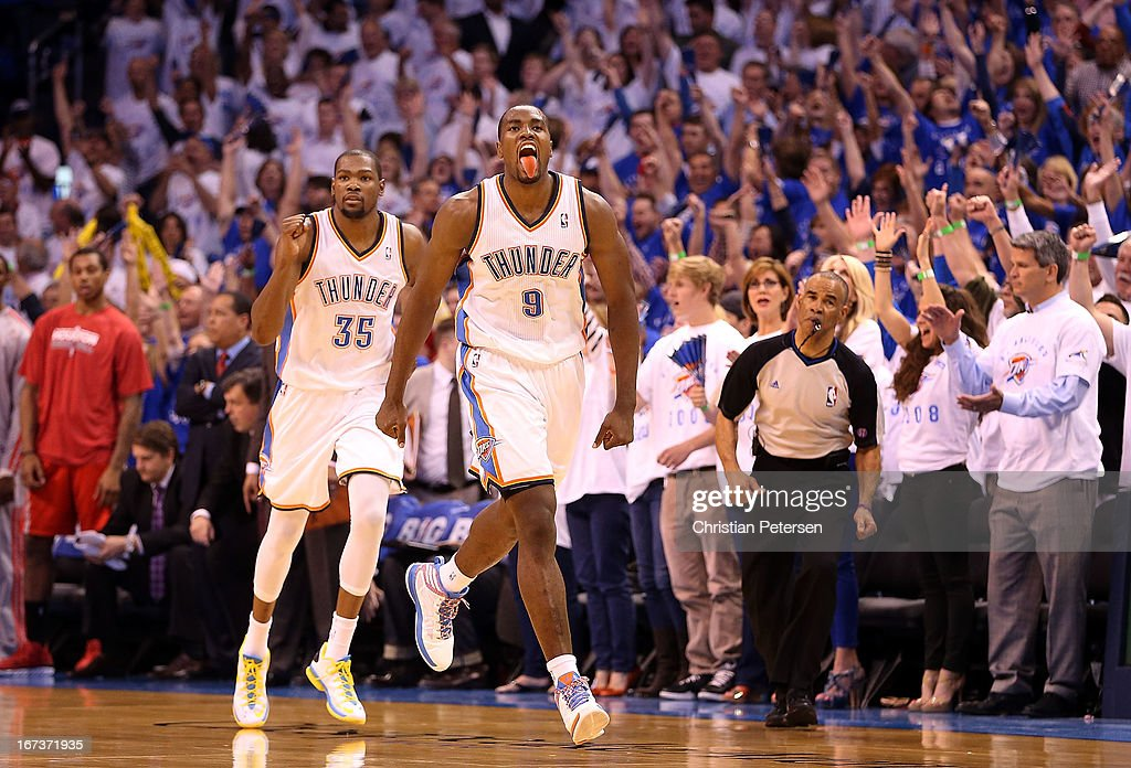 Serge Ibaka #9 of the Oklahoma City Thunder celebrates ahead of Kevin Durant #35 after Ibaka scored against the Houston Rockets during fourth quarter of Game Two of the Western Conference Quarterfinals of the 2013 NBA Playoffs at Chesapeake Energy Arena on April 24, 2013 in Oklahoma City, Oklahoma. The Thunder defeated the Rockets 105-102.