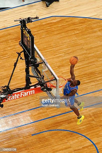 Serge Ibaka of the Oklahoma City Thunder dunks during the Sprite Slam Dunk Contest at Staples Center on February 19 2011 in Los Angeles California...
