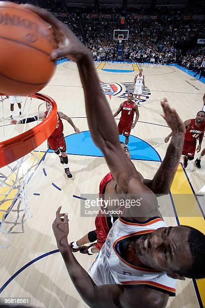 Serge Ibaka of the Oklahoma City Thunder dunks the ball on the Miami Heat on January 16 2010 at the Ford Center in Oklahoma City Oklahoma NOTE TO...