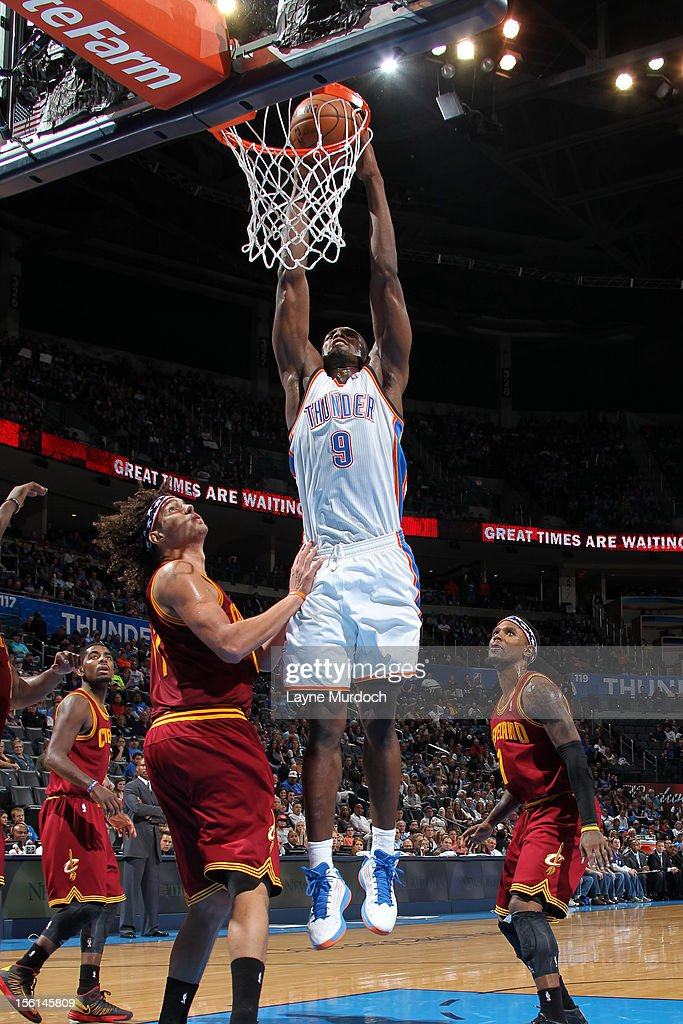 Serge Ibaka #9 of the Oklahoma City Thunder dunks the ball vs the Cleveland Cavaliers during an NBA game on November 11, 2012 at the Chesapeake Energy Arena in Oklahoma City, Oklahoma.