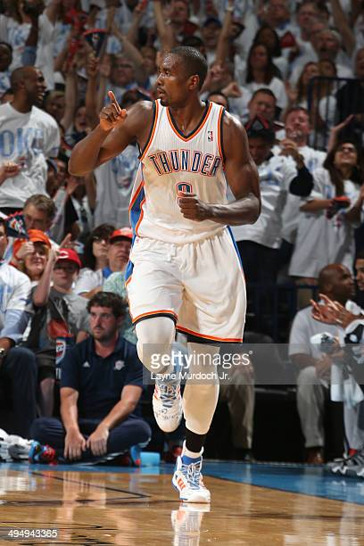 Serge Ibaka of the Oklahoma City Thunder during the game against the San Antonio Spurs in Game Six of the Western Conference Finals during the 2014...